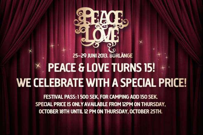 18/10/12 Special prices when Peace & Love turns 15